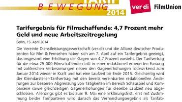 TV FFS | Tarifergebnis 2014 | ver.di FilmUnion