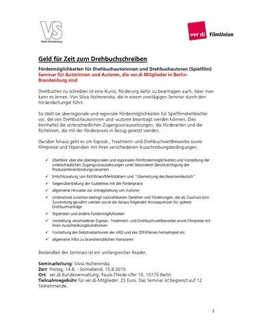 Seminarausschreibung »Geld für Zeit zum Drehbuchschreiben« im August 2016   ver.di FilmUnion und VS