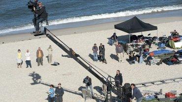 """Am Set für den Film """"Nord Nord Mord"""" am Strand von Sylt"""