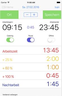 iPhone-Screenshot der Überstunden-App speziell für Filmschaffende