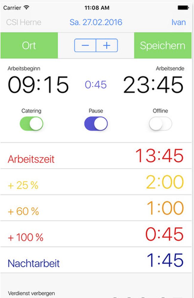 ver.di – Überstunden-App
