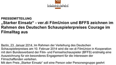 Teaser für Pressemeldung vom 23. Januar 2014 der ver.di FilmUnion