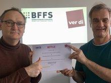Matthias von Fintel (l.), der die GVR mit Netflix auf ver.di-Seite federführend mitverhandelt hat, und Heinrich Schafmeister vom BFFS